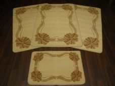 ROMANY GYPSY WASHABLES NEW 2017 BOW/SCROLL FULL SET OF 4 MATS/RUGS CREAM/BISCUIT